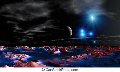 Major planet approach - In the dark sky bright stars, float...