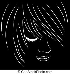 Emo face - Vector illustration of emo face