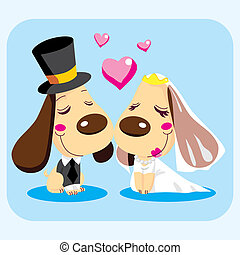 Married Dog Couple - Cute married dog couple smiling in love...