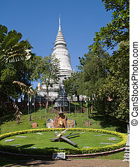 The park at Wat Phnom in Cambodia