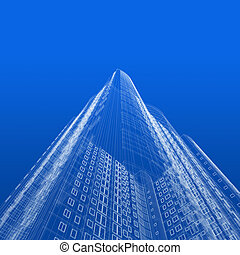 Skyscraper blueprint - Architecture blueprint of skyscraper...