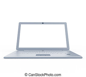 Silver laptop front view. 3d isolated on white