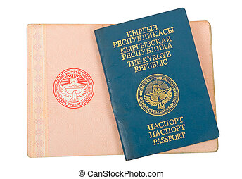 Kyrgyz passport isolated on white background