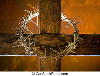 Cross with crown of thorns - Crown of thorns hung around the...