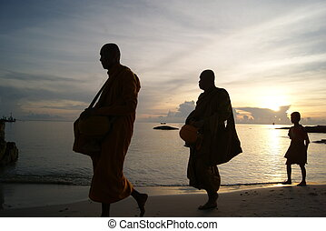 The early morning alms,Thailand