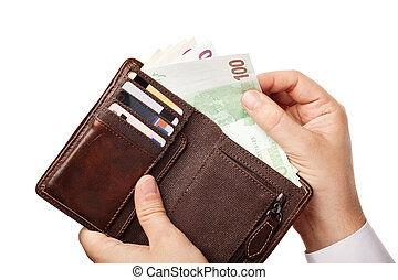 Businessman's hands holding brown wallet full of money - various Euros (Eur) banknotes, isolated over white background