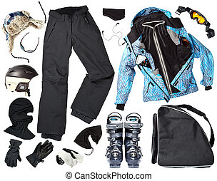 Female skier clothes - The set of all necessary woman skier...