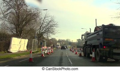 Driving through roadworks in UK
