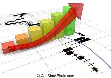 growth bar chart with arrow