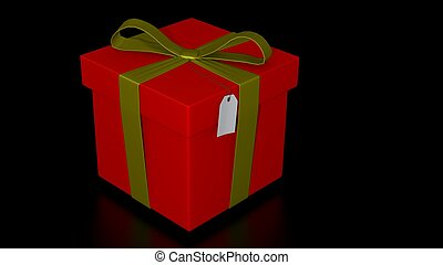 red giftbox with gold ribbon