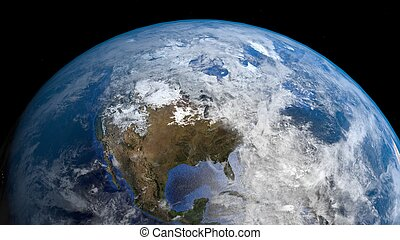 3d satellite view of earth with focus on america