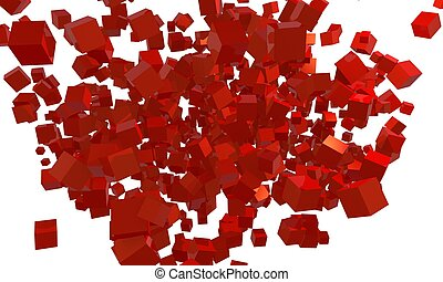 3d red cubes explosion