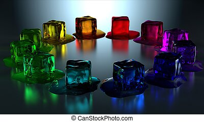 12 melting colored ice cubes in cir