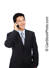 Young Business Man happy Speaking mobile phone