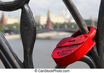 Symbol of the eternal love - Red padlock with the names and...
