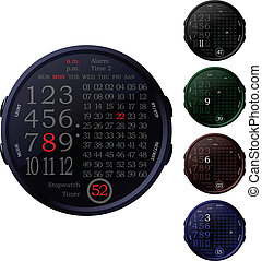 Digital Clocks - Five isolated digital clocks in the color...