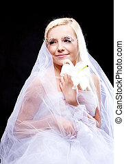 beautiful bride - beautiful young blond bride with a lily...
