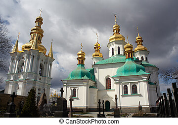 Pechersk Lavra cemetary Kiev - View of Pechersk Lavra...