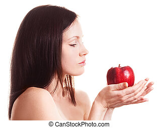 woman with an apple - beautiful adult woman with an apple...