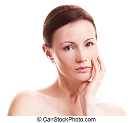 adult woman - beautiful sad adult woman isolated against...