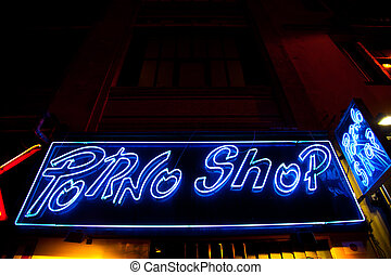 Sexy shop entrance - Paris - Detail of sexy shop sign, no...