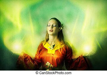 jovem, mulher, Duende, ou, feiticeira, fazer, magia