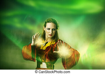 年輕, 婦女, 小精靈, 或者, 巫婆, 做, 魔術