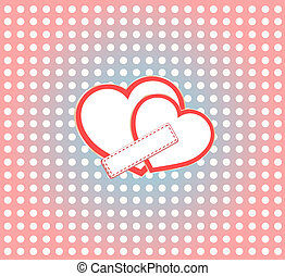 Valentine's day vector background two hearts with empty space