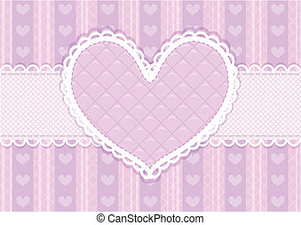 Vector pink and purple cute Valentines card - Vector pink...