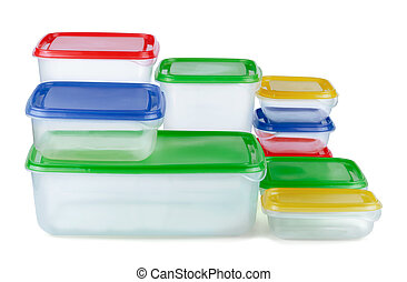 Plastic Containers - Stack of food plastic containers...