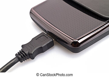 Harddisk And USB Cable Close up