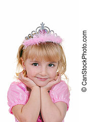 Little princess in pink - Little girl dressed as princess in...