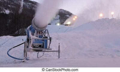 Snow cannons - Snowmaking is the production of snow by...