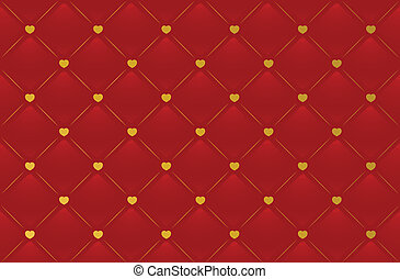 Vector red leather background with hearts