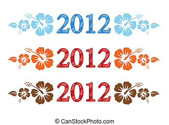 Vector set of 2012 text with hibiscus flower on white...
