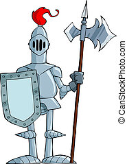 Cartoon knight - Knight on a white background, vector...