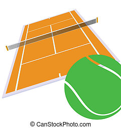 tennis court and green ball illustration