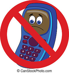mobile phone forbidden - Vector illustration of mobile phone...
