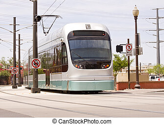 Phoenix Metro Light Rail Train - Light rail train of the...