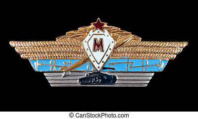 Military insignia of the Soviet Army on black background