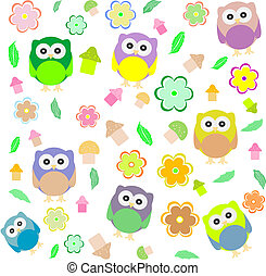 background with spring elements - owls, mushrooms, flowers