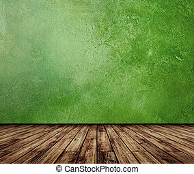 Green wall vintage interior. All textures my own