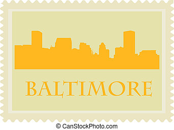 Baltimore stamp - Stamp with City of Baltimore high-rise...