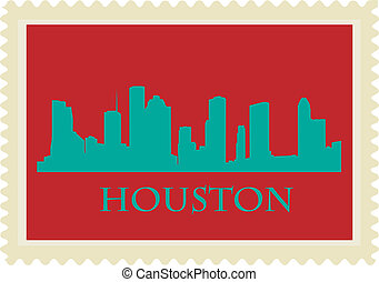 Houston stamp - City of Houston high rise buildings skyline