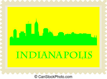 Indianapolis stamp - City of Indianapolis high rise...