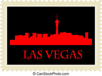 Las Vegas stamp - City of Las Vegas high-rise buildings...