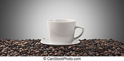 coffee background - Background with coffe cup and beans