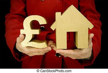 house purchase - property purchase, woman holding golden...