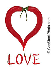red heart from chili peppers with inscription love