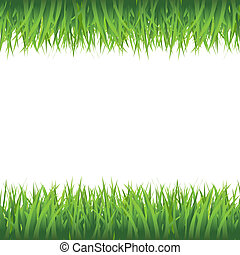 Grass Border, Isolated On White Background, Vector...
